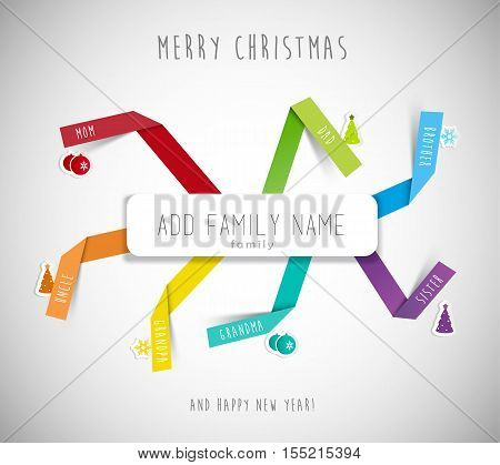 Christmas best wishes for family template with colorful folded paper stripes place for family member names and small Christmas icons.