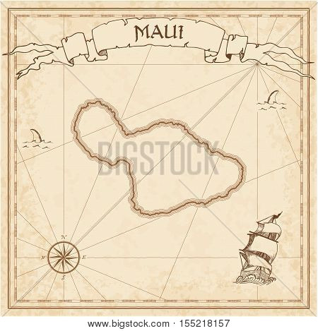 Maui Old Treasure Map. Sepia Engraved Template Of Pirate Island Parchment. Stylized Manuscript On Vi