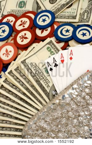 Purse, Poker, Chips And Cards