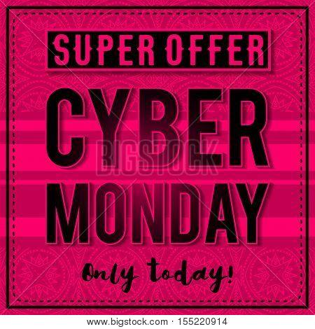 Cyber Monday sale banner on pink patterned background vector illustration