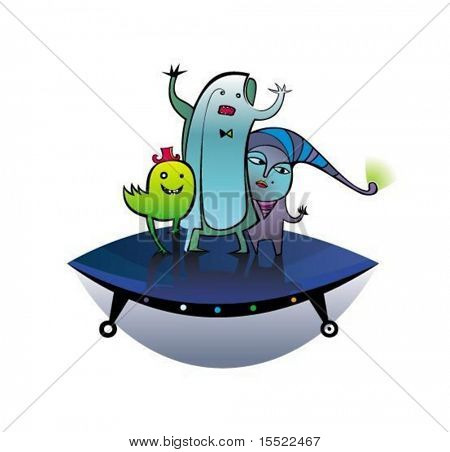 UFO, vector aliens.