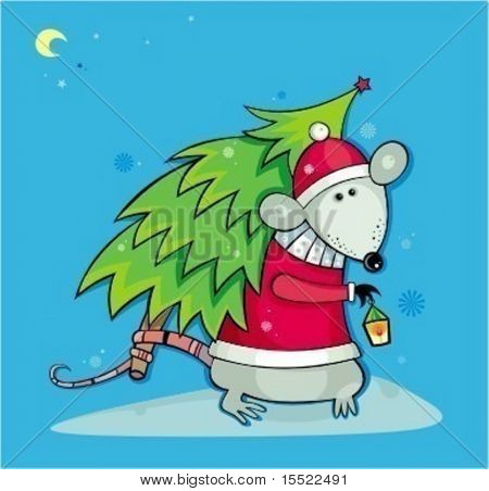 Santa rat with christmas tree. 