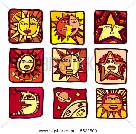 Una colección de planetas abstractos, iconos, vectores.  Ver similares, por favor visite mi Galería.