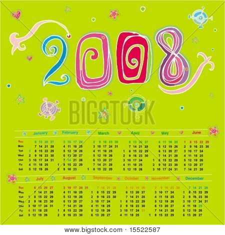 2008 colorful cute calendar (starts Sunday)