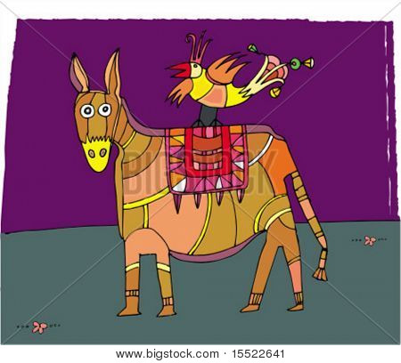 circus donkey and bird