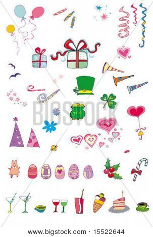 party and holiday icon set series. Vector illustration with many things for celebration and holidays.  To see similar design elements, please VISIT MY GALLERY.