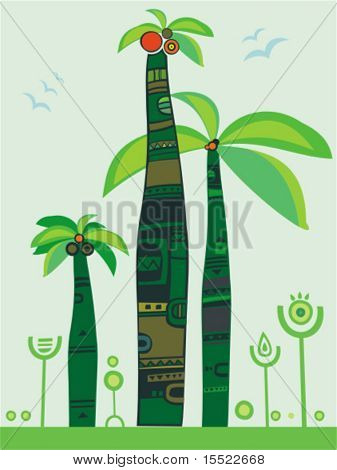 jungle palm trees. To see similar illustrations, please visit my gallery