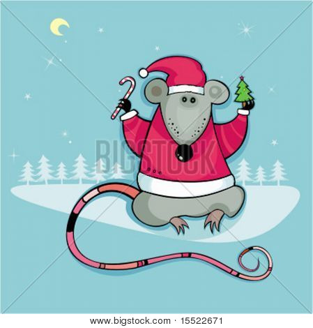 Santa rat with candy and little christmas tree.