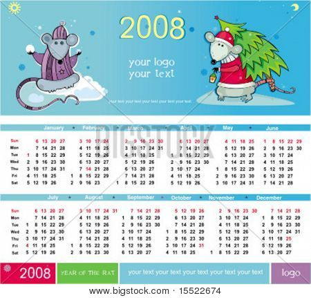 Rats calendar for 2008 With Space reserved for your logo and text.