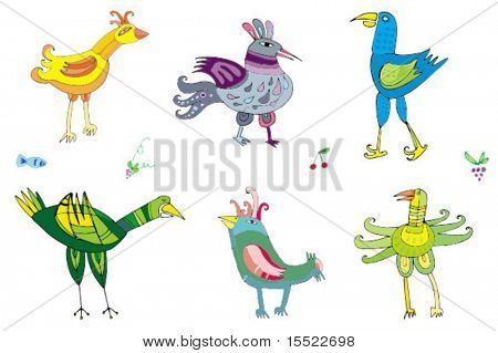 Colorful cute birds 2 -  set of characters. To see similar birds sets, please visit my gallery