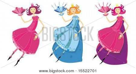 Cute girl dressed as fairy or princess. Vector illustration.