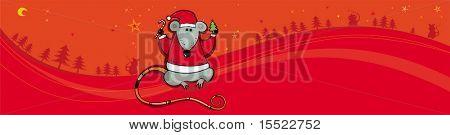 Bandera roja de vector de Navidad con rata