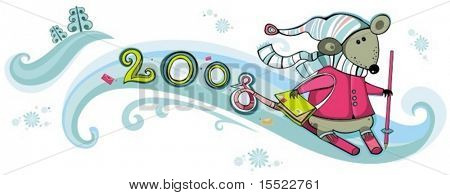 Mailman rat with skis. 2008 - year of rat. To see more cute rats, please visit my gallery