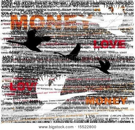 typographic  design elements with birds silhouettes.  To see similar design elements, visit my gallery