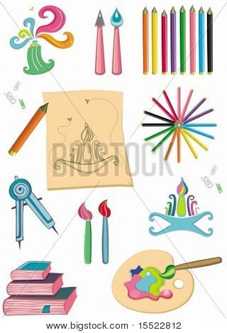 Colorful set of art supplies.