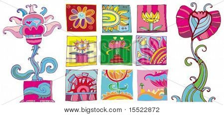 Bright set of different flowers icons. To see more flower icons, visit my gallery