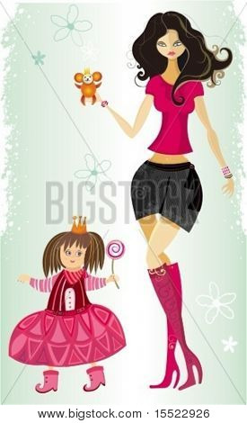 Beautiful young mother and cute little daughter. To see similar illustrations,  please VISIT MY GALLERY.