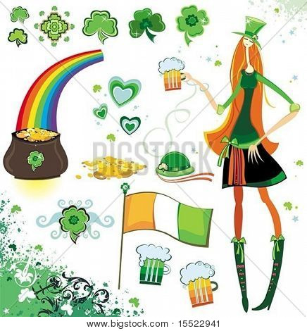 St. Patrick's Day - design elements, icons and illustrations. To see similar design elements,  please VISIT MY GALLERY.