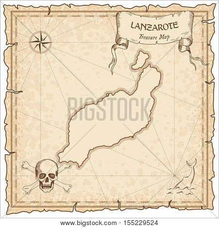 Lanzarote Old Pirate Map. Sepia Engraved Parchment Template Of Treasure Island. Stylized Manuscript