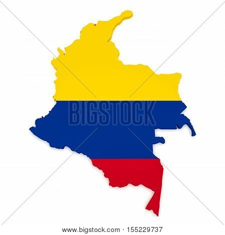 3d Illustration of Colombia Map With Colombian Flag Isolated On White Background