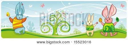 Horizontal high detailed Easter banner with bunnies, easter eggs, spring flowers and  butterfly.