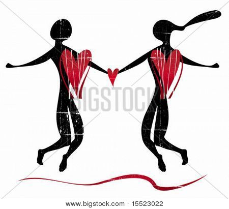 Stylized silhouette of couple of lovers.  To see similar design elements, please VISIT MY GALLERY.