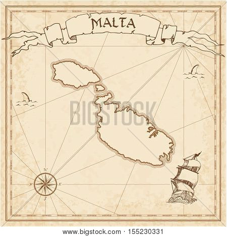 Malta Old Treasure Map. Sepia Engraved Template Of Pirate Island Parchment. Stylized Manuscript On V