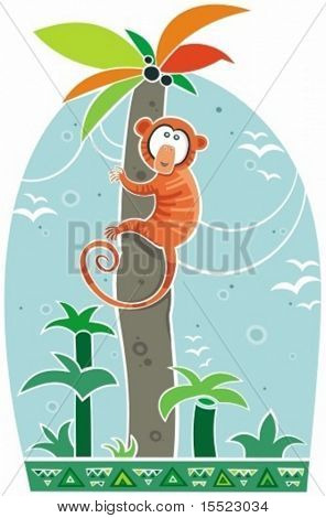 Colorful illustration of little monkey climbing on top of the palm. To see similar illustrations, please VISIT MY GALLERY
