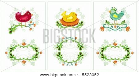 Easter set of vertical cards with space for your text Beautiful birds and flowers. 