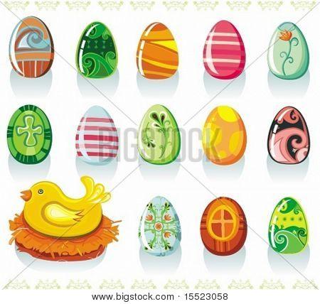 Vector Set colorful Easter Eier und hübsch Huhn im Nest. um ähnliche einzusehen, besuchen Sie bitte mein g