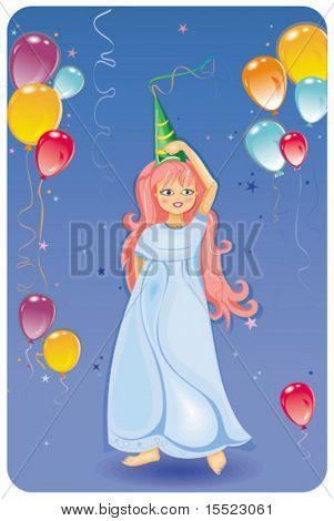 Birthday balloons with Cute girl. To see similar, please VISIT MY GALLERY.