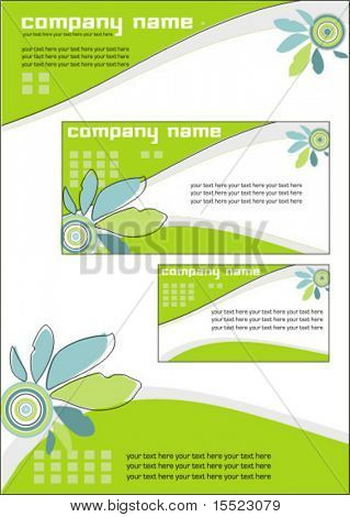 Vector spring business stationery set. To see similar sets please visit my gallery.