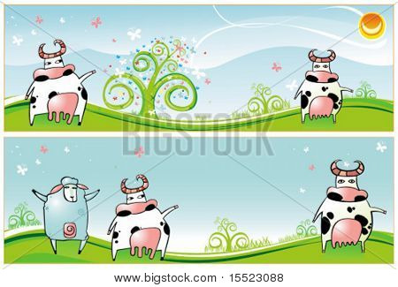 Horizontal Spring Easter banners with Cows, sheep, spring flowers and butterfly.