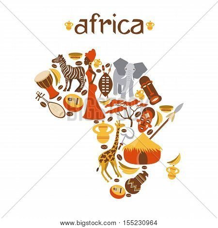 Africa map vector illustration for travel agencies, mobile phone. Africa map background with icon.