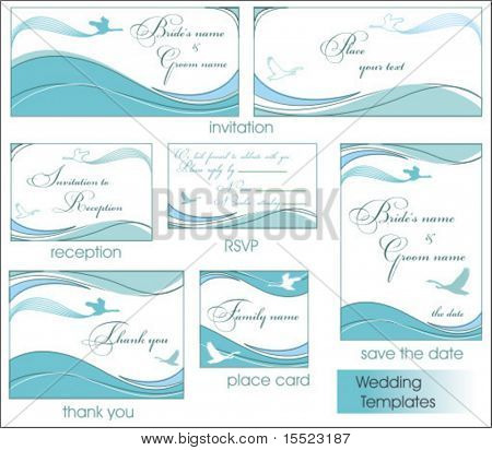 Reception card set with Blue birds 5. To see similar, please visit my gallery.