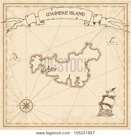 Waiheke Island Old Treasure Map. Sepia Engraved Template Of Pirate Island Parchment. Stylized Manusc
