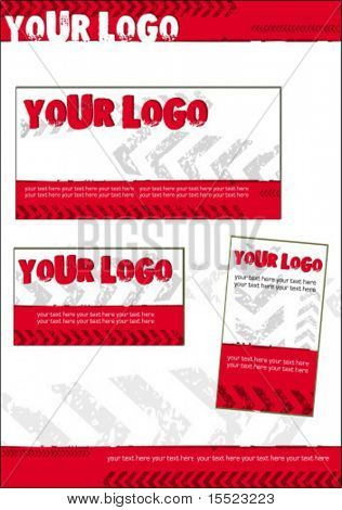 Vector red tracks business stationery set 13. To see similar, please visit my gallery.