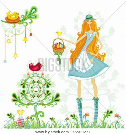 Beautiful Girl with Easter Eggs and birds.  To see similar, please VISIT MY GALLERY.