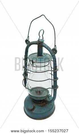 blue old kerosene lamp on white background