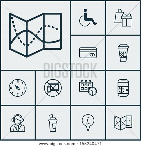 Set Of Transportation Icons On Forbidden Mobile, Info Pointer And Shopping Topics. Editable Vector I