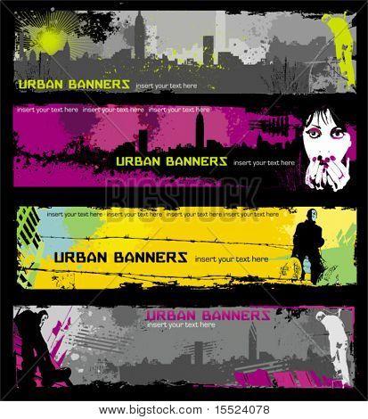 Banners de urbanos à moda grunge.  Para ver semelhante, por favor visite minha galeria.