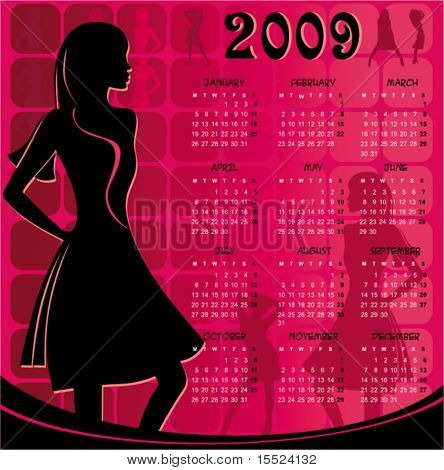 Pink Calendar for 2009. With sexy girl. To see similar, please VISIT MY GALLERY.