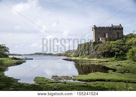 Landscape around Loch Dunvegan Isle of Skye Scotland Great Britain