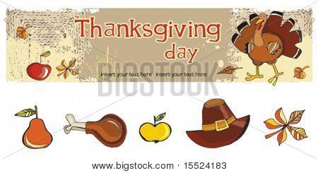 Thanksgiving  banner 2, vector.