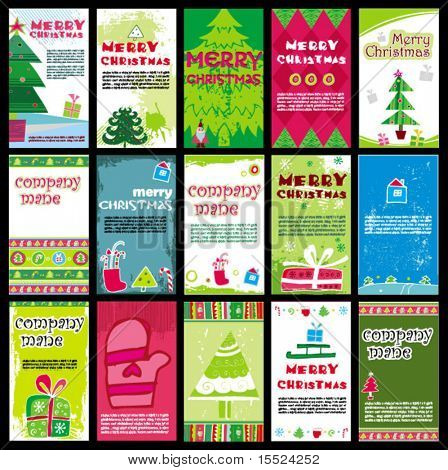 Vertical Christmas business cards templates vector. To see similar, please VISIT MY GALLERY.