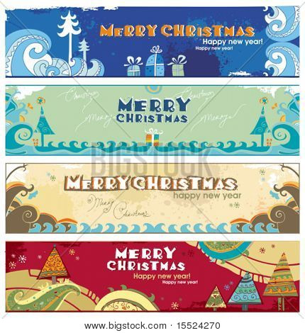 Horizontal Christmas banners with space for your text. To see similar, please VISIT MY GALLERY.