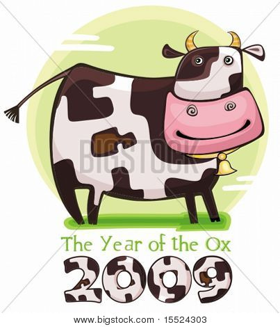 Cute friendly cow. 2009 is the Year of the Ox according to the Chinese Zodiac. To see similar, please VISIT MY GALLERY.