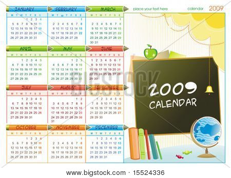 2009 colorful educational calendar (Starts Monday). To see similar, please VISIT MY GALLERY.