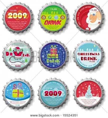 Christmas bottle caps - vector set. To see similar, please VISIT MY GALLERY.