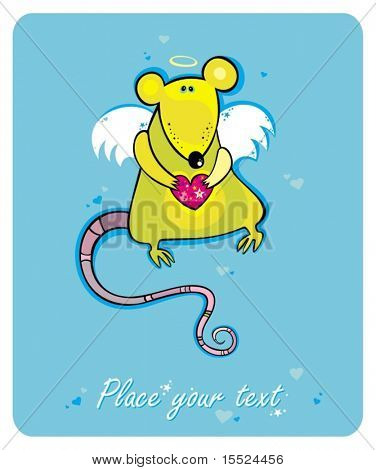Illustration of a Valentine's Day cupid rat. To see similar, please VISIT MY GALLERY.